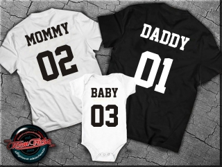 Sada 3 tričiek Daddy, Mommy a Baby (body)